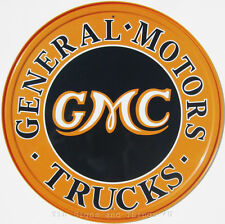GMC General Motors Trucks ROUND TIN SIGN metal wall decor vtg chevy garage 1012