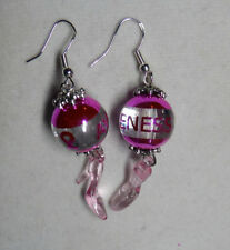 Unique Pink CANCER Awareness High Heel 925 Earrings Bling RIBBON Handcrafted