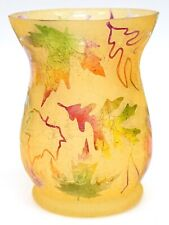 New Yankee Candle Frosted Leaf Fall Oak Maple Crackle Glass Large Jar Holder