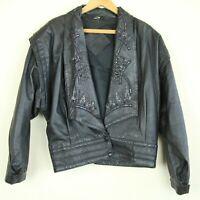 """Vintage 80s Black Embellished Leather Jacket Sequins Beaded XL Dolman 50"""""""