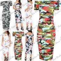 Womens Ladies Army Print Off the Shoulder Bodycon Bardot Short Sleeve Midi Dress
