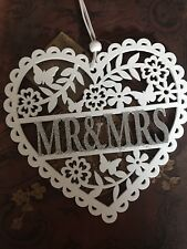 Mr And Mrs Glitter White Heart Home Decor Hanging Plaque