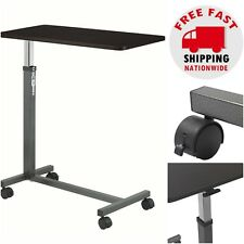 Overbed Table Tray Hospital Bed Rolling NonTilt Adjustable Height Food Cart Desk