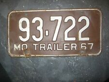 1967 MO 93-722 Trailer Missouri brown & White License Plate only one