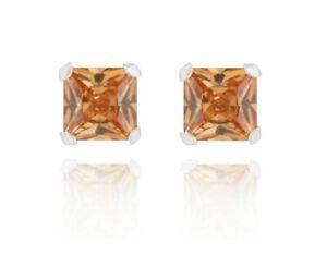 Sterling Silver Princess Cut 0.80ct / 1.52ct / 2.06ct Morganite Stud Earrings