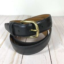 """Mens 1"""" Black Leather Belt W/ Brass Buckle 33"""" Made in the USA EUC!"""