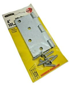 """Stanley 751-498 Removable Pin Broad Hinge 4"""" Galvanized Steel Brass Pin NOS"""