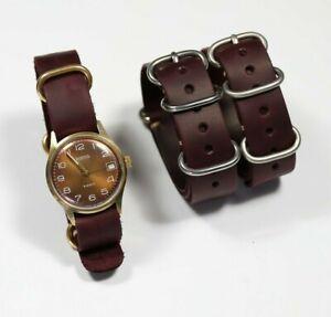 Leather watch strap burgundy Military watch band mens 18mm-24mm Handmade Custom