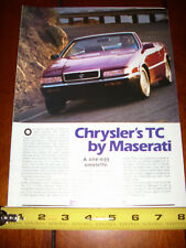 1989 CHRYSLER TC By MASERATI - ORIGINAL ARTICLE
