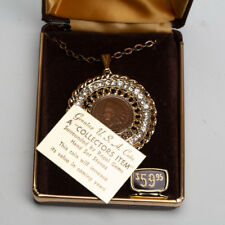 Vintage Imperial Man Made Diamonds 1903 Penny Pendant Medallion  with Box