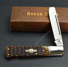 ROUGH RIDER One Arm Lockback Razor Amber Jigged Bone Pocket Knife RR763 New!