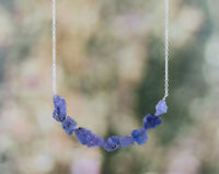 Natural Raw Tanzanite Baar Necklace in 925 Sterling Silver for Women