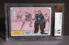 1968-69 TOPPS #122 JOHNNY BOWER MAPLE LEAFS   Beckett Graded  EX-MINT+ 6.5