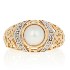 NEW 7.5mm Halved Pearl & Diamond Ring - 14k Yellow Gold Leaf Accents Women's