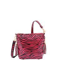 Zebra Fashion Crossbody Handbag Purse Fuchsia Mellow World Ziba Detachable Strap