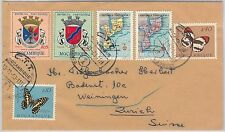 BUTTERFLIES / MAPS - Mozambique -  POSTAL HISTORY: COVER to SWITZERLAND 1963