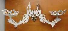 Large Cast Iron Candle Holder Wall Fixture Lamp Sconce Pair 1800s