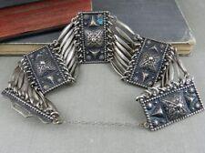 Wide Link Statement Bracelet Vintage Mexico Sterling Silver