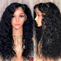 Remy Peruvian Human Hair Wig Pre Plucked Curly Wavy Silk Top Full Lace Front Wig