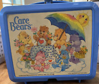 1985 Vintage Aladdin Blue CARE BEARS Plastic Lunchbox