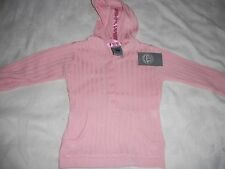Girls Pumpkin Patch Fine Rib Button Front Hooded Pink Jumper Size 1