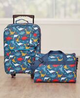 Kids Going to Grandmas 3-Pc Luggage Set Rolling Suitcase Tote & Pouch DINOSAUR
