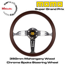 MOMO SUPER GRAND PRIX-legno di mogano 350 mm CROMATO HA PARLATO VOLANTE