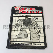 TRANSFORMERS G1 Parts Accessories - Topspin (1985) Instruction Booklet