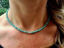STERLING SILVER TURQUOISE NECKLACE CHOKER DESIGNER BEADED HANDMADE JEWELRY GIFT