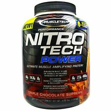 Muscletech, NitroTech Power, Ultimate Muscle Amplifying Triple Chocolate-1.81 kg