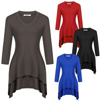 Women V-Neck long Sleeve Asymmetrical Hem Blouse Tops t-shirt solid casual Tee