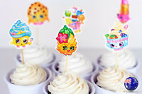 24 Shopkins birthday Girl Party Cupcake Cakes Muffin Toppers Flags Picks Set