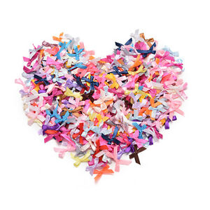 500 Pcs/lot Mini Satin Ribbon Flowers Bows Gift Craft Wedding Party Decor  CACA