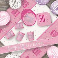 Pink Glitz 50th Birthday Party Supplies Decorations (Confetti Strings Napkins)