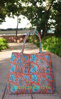 Indian Mandala Tote Bag Block Printed Handbag Cotton Women Satchel Purse Lady-10