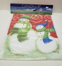 "Custom Decor Inc Original Art Smiling Snowmen Holiday Garden Flag 12""x18"""