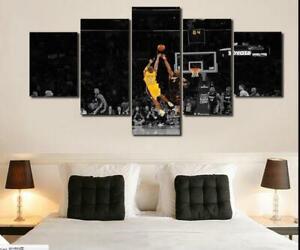 Kobe Bryant Black Mamba NBA LA Lakers Basketball Star 5 Piece Canvas Art Print