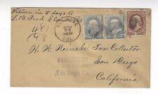 1891 Elsinore California, Registered San Diego California Three Banknotes