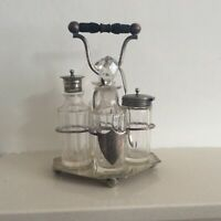 Antique 1908 Silver Plated & Cut Crystal Cruet Set and Tray with Bakelite Handle