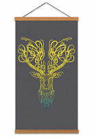 Celtic Knot Stag Head Canvas Wall Art Print Poster Magnetic Hanger 24x12 Inch