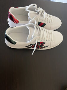 Authentic Gucci Men's Ace Embroidered Sneaker Snake White/Green/Red US Size 11