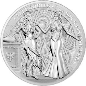2020 Germania Mint 25 Mark Allegories Italia & Germania 5 oz 9999 Silver Coin