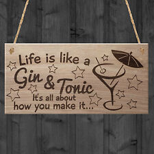 New Hand Made Life Is Like A Gin And Tonic Funny Plaque Gift Alcohol Novelty