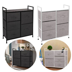 5 Drawers Fabric Dresser Chest Tower Clothes Storage Modern Bedroom Cabinet USA