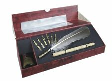 G617: Writing Set with Quill Pen, Lathe Fountain Pen and Ink