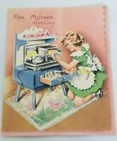 Vintage Mother's Day Card Greeting Card 1930s 1939 dated signed Cooking Stove