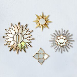 Decorative Gold sunburst Mirror set 4, Peruvian Accent Silver Wall Star Mirrors