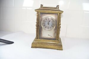 Antique Brass Carriage Clock Signed AB # 674 Old French ? For Repair As Is Small