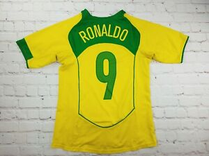Nike RONALDO Brazil Soccer Jersey kids Youth Size 10-12 Y Medium Yellow Green