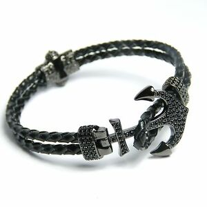 Men Women Leather Anchor bracelet Inlaid With Crystal 24 Karat Black Gold Plated